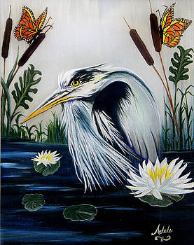 Great Blue Heron Happiness by Adele Moscaritolo