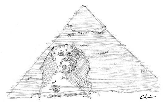 Great Pyramid Sphinx Sketch by Calvin Durham