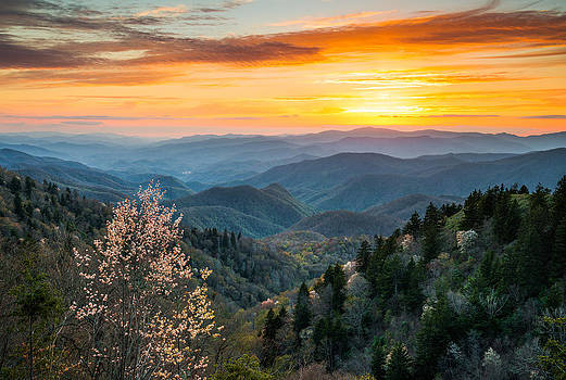Great Smoky Mountains Spring Sunset Landscape Photography by Dave Allen