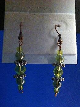 Green and Silver Earrings by Kimberly Johnson