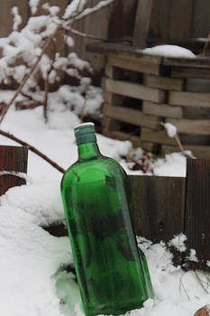 Green Bottle in Winter White by Valerie Chamberlin