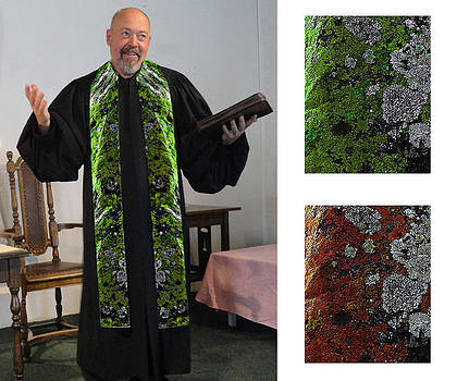 Green Earth 3 Cotton Clergy Stole by Julie Rodriguez Jones