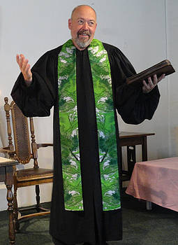 Green Earth Cotton Clergy Stole by Julie Rodriguez Jones