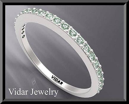 Green Sapphire Half Eternity 14k White Gold Woman Wedding Ring by Roi Avidar