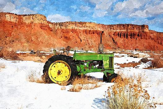 Green tractor by Larry Stolle