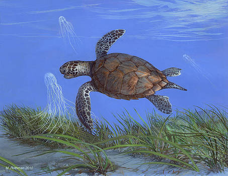 Green Turtle by ACE Coinage painting by Michael Rothman