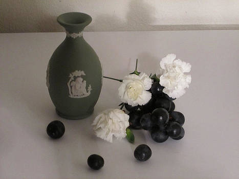Green Vase Floral with Grapes by Good Taste  Art