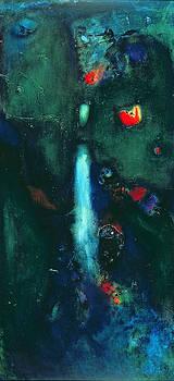 Jane Deakin - Green Waterfall Oil On Canvas