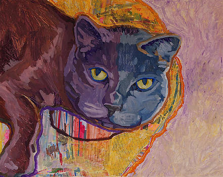 Grey Cat Lounging by Yvonne Gaudet