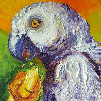 Grey Parrot and Juicy Mango by Paris Wyatt Llanso