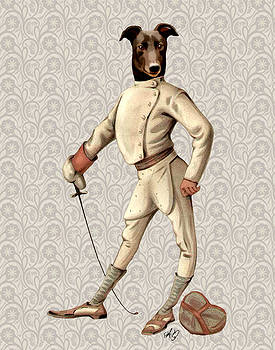GreyHound Fencer full White by Kelly McLaughlan