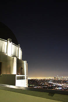 Griffith Observatory Overlooking Downtown Los Angeles by Laurie Larson