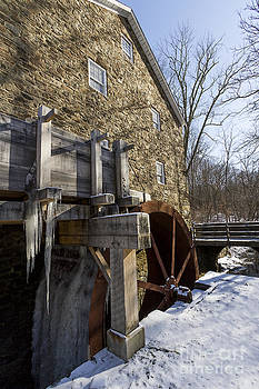 Gristmill with frozen water wheel by Robert Wirth
