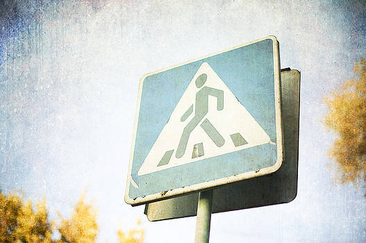 Grungy Crossing Sign by Sofia Walker