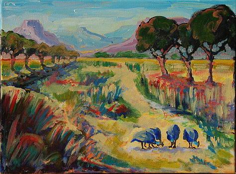 Guinea Fowl in Extensive Landscape by Thomas Bertram POOLE