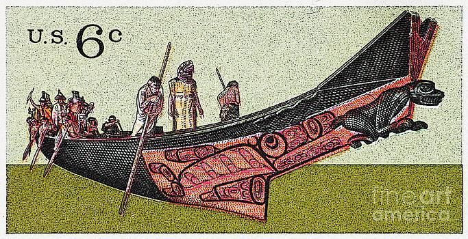 Haida Canoe Vintage Postage Stamp Print by Andy Prendy