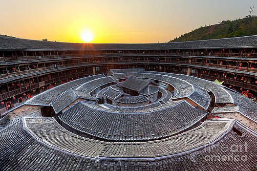 Fototrav Print - Hakka Tulou traditional Chinese housing at sunset