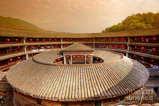 Fototrav Print - Hakka Tulou traditional Chinese housing at sunset Fujian China