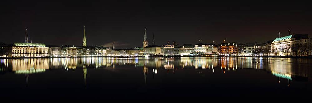 Hamburg Skyline at Night by Marc Huebner