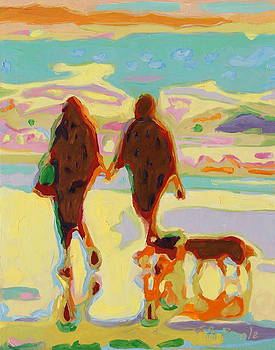 Hand in Hand on Beach with Two Dogs Oil Painting Bertram Poole by Thomas Bertram POOLE