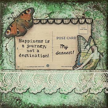 Happiness Is a Journey Inspirational Mixed Media Folk Art by Stanka Vukelic