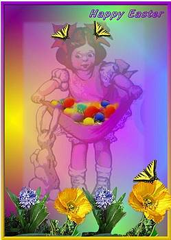 Joyce Dickens - Happy Easter Girl Eggs Bunny and flowers and butterflies
