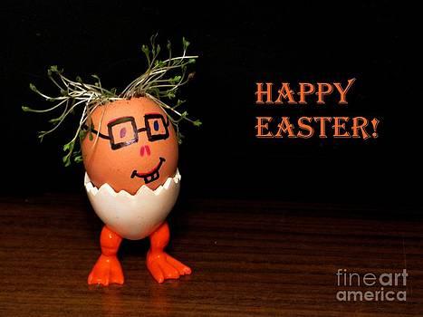 Happy Easter Greeting Card. Funny Eggmen Series by Ausra Huntington nee Paulauskaite