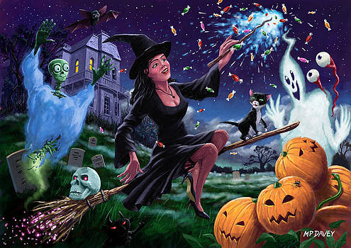 Martin Davey - Happy Halloween Witch with graveyard friends