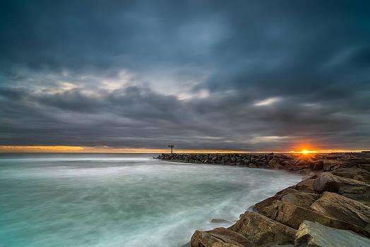 Larry Marshall - Harbor Jetty Sunset
