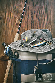 Sandra Cunningham - Hat with fishing equipment
