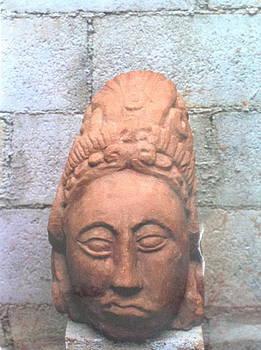 Head of a religious Maya priest by Yucatan artist