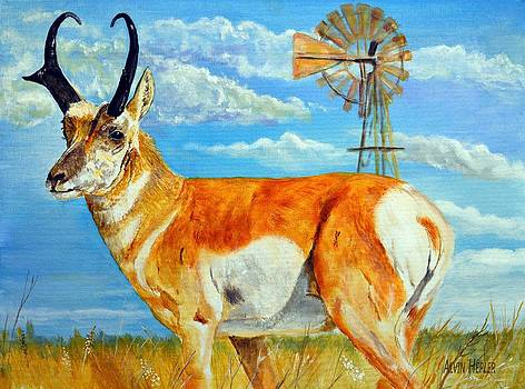 Heading  To The Waterhole - Pronghorn Antelope by Alvin Hepler