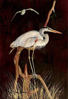Heron in Tree by Anne Beverley-Stamps