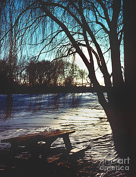Herrick Lake Picnic Bench Twilight Snow Landscape by ImagesAsArt Photos And Graphics