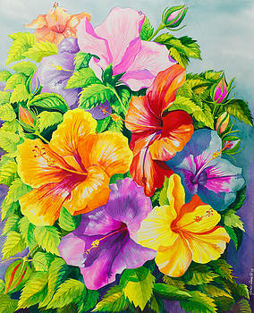 Hibiscus Rainbow Array by Janis Grau