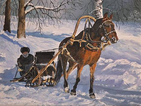 His horse seeing snow by Sergey Lutsenko
