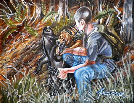 Hogdog and Hunter by Monica Turner