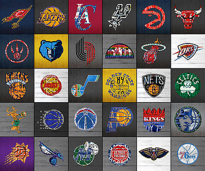 Hoop It Up Recycled Vintage Basketball League Team Logos License Plate Art by Design Turnpike