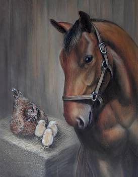 Horse and Chickens - Together in the Barn by Sharon Challand