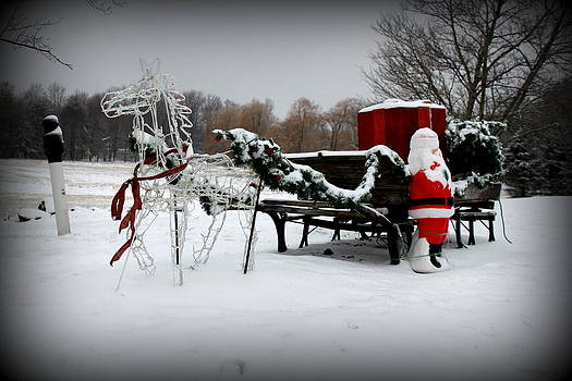 Horse and Santa's Sleigh in the Snow by Suzanne DeGeorge