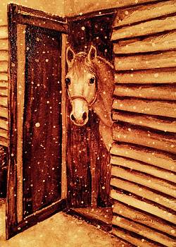 Horse in Snow by Julee Nicklaus