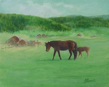 Horses Rural Pasture Western Landscape Original Oil Colorful Art Oregon Artist K. Joann Russell by K Joann Russell