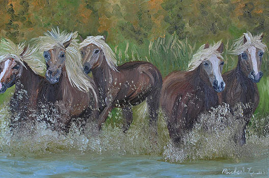 Horses Splashing by Michael Lee