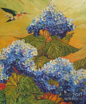 Hummingbird and Blue Hydrangea by Paris Wyatt Llanso