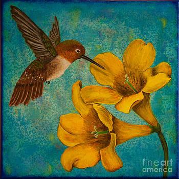 Hummingbird with Yellow Jasmine by Susan Cliett