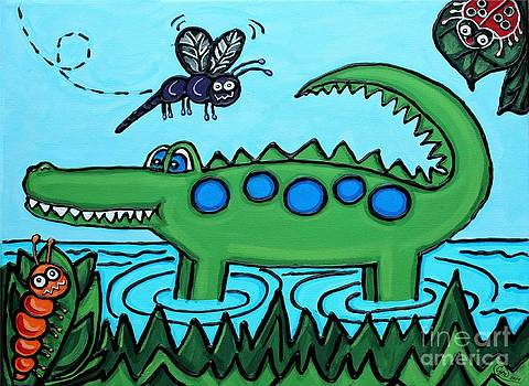 Happy Green Gator by Cynthia Snyder