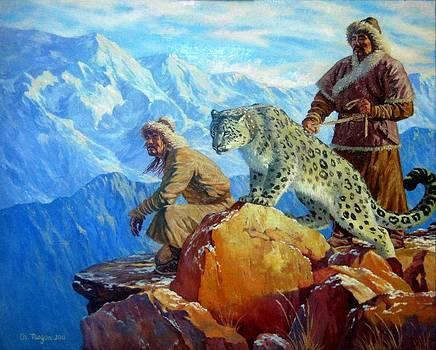 Hunting with Snow Leopard by Tsogbayar Chuluunbaatar