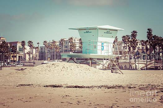 Paul Velgos - Huntington Beach Lifeguard Tower #5 Retro Picture