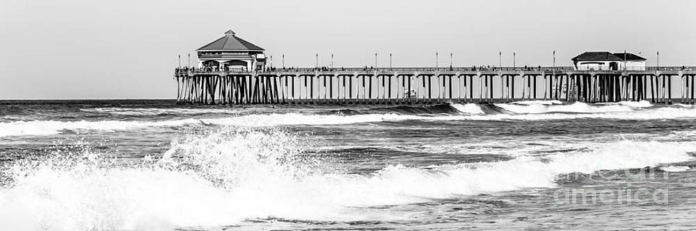 Paul Velgos - Huntington Beach Pier Black and White Panoramic Picture