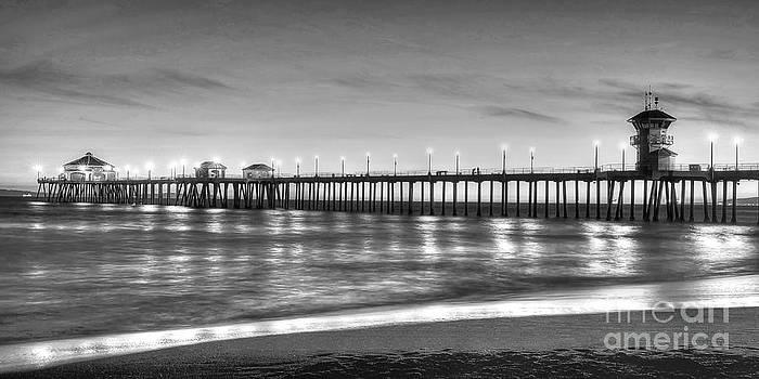 Huntington Beach Pier Twilight - Black and White by Jim Carrell